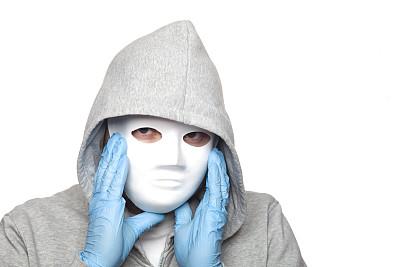 白色,面具,男人,化妆面具,长袖衫,乳胶,牛皮,面罩,超现实主义的