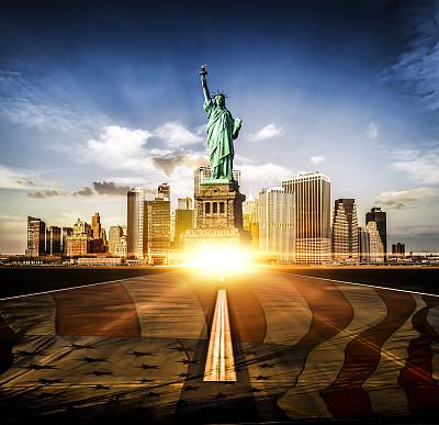纽约,路,自由女神像,纪念碑,未来,水平画幅,无人,曙暮光,户外,都市风景