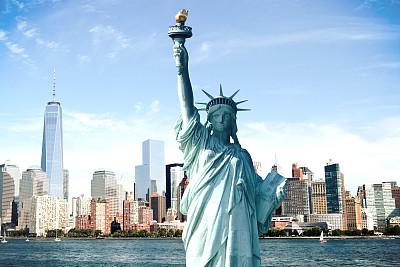 纽约,城市天际线,世贸中心,巴特里公园,自由女神像,纪念碑,水,天空,美国国庆日,夏天