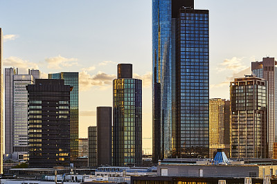 城市天际线,法兰克福,美茵塔,天空,水平画幅,无人,户外,图像,阶调图片,建筑业