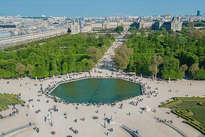 杜乐丽花园,高视角,法国,巴黎,卢浮宫,杜伊勒利区,巴黎左岸,城市游,水,天空