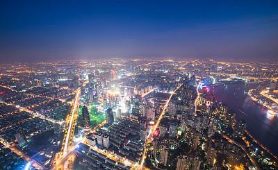 陆家嘴,夜生活,上海,东方明珠塔,浦东,天空,水平画幅,夜晚,无人,交通