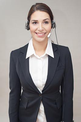 耳麦,女人,自然美,总机人员,免提装置,蓝牙,垂直画幅,麦克风,电话机,顾客