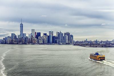 下曼哈顿区,云,自由之塔,白昼,巴特里公园,华尔街,哈德逊河,布鲁克林,天空,暴风雨