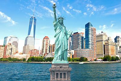 自由女神像,纽约,城市天际线,巴特里公园,华尔街,自由岛,燃烧的火炬,曼哈顿中心,下曼哈顿区,纪念碑