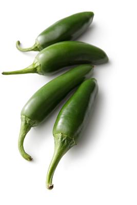 墨西哥椒,椒类食物,蔬菜,白色背景,分离着色,绿辣椒,垂直画幅,高视角,素食,无人