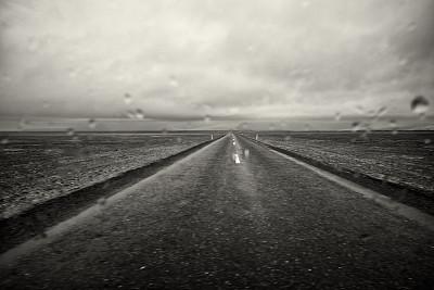 路,冰岛,天气,雨,水平画幅,地形,无人,2015年,欧洲,黑白图片