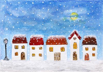 城市,涂料,窗户,水平画幅,绘画艺术品,抽象,房屋,建筑结构,门,都市风景