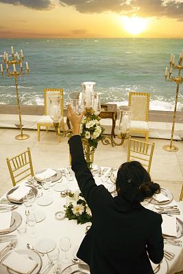 户外,婚礼,高雅,结婚宴会,餐具,垂直画幅,选择对焦,生日,餐桌,花束