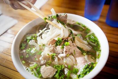 越南,面汤,碗,卧佛寺,越南粉,米粉,牛胸肉,肌腱,豆芽,街头食品