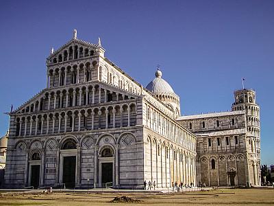 奇迹广场,比萨洗礼堂,比萨斜塔,比萨,罗马式,旅游目的地,水平画幅,无人