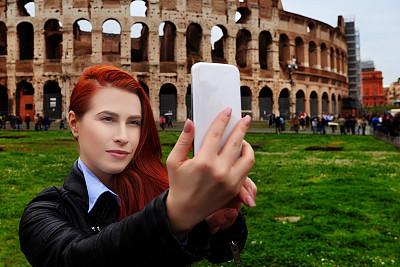 罗马,自拍,罗马斗兽场,城市游,纪念碑,圆形剧场,旅行者,仅成年人,青年人,技术