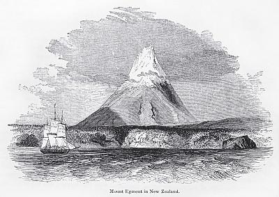塔拉纳基山,雕刻图像,旅游目的地,水平画幅,地质学,无人,绘画插图,古典式,维多利亚女王时代风格,新西兰北岛