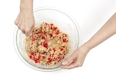 饼干,搅拌钵,水平画幅,樱桃,生食,甜点心,白色,彩色图片,碗,食品