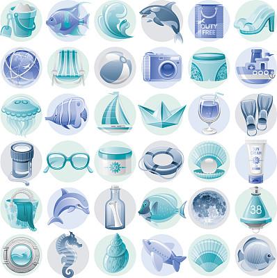计算机图标,蓝色,蓝色橙皮酒,瓶中信,逆戟鲸,木底鞋,沙滩包,海马,潜水挡板,鲸