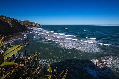穆拉瓦海滩,贝福斯海滩,皮哈海滩,锡吉里耶,黑沙,奥克兰区,水,天空,水平画幅