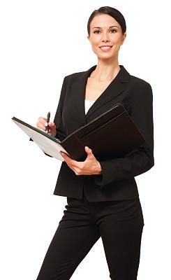 女商人,文件夹,白色背景,垂直画幅,美,注视镜头,美人,套装,白人,仅成年人