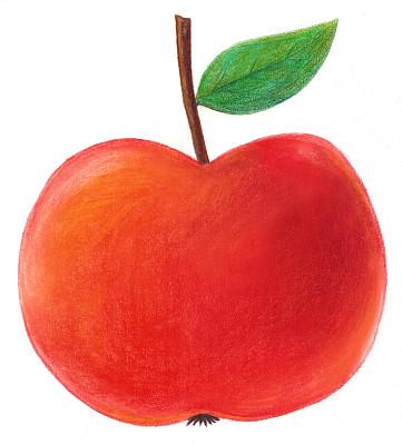 红色,苹果,蜡笔画,概念和主题,垂直画幅,铅笔画,绿色,水果,绘画插图