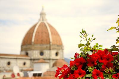 佛罗伦萨,天空,水平画幅,无人,意大利,摄影,花