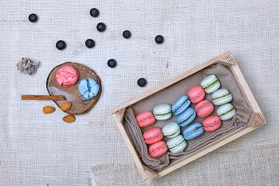 蛋白杏仁饼,色彩鲜艳,水平画幅,纺织品,无人,湿,烘焙糕点,甜点心,面包,白色