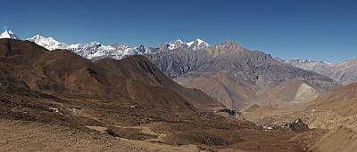 贾克,姆斯堂自治区,尼泊尔,乡村,全景,帕纳若玛山庄,安娜普娜山脉群峰,褐色,水平画幅,山
