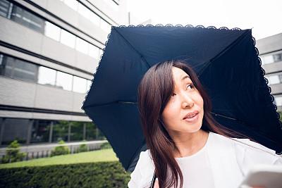 雨,户外,女商人,计算机软件,仅成年人,日本人,人的脸部,技术,伞,中年人