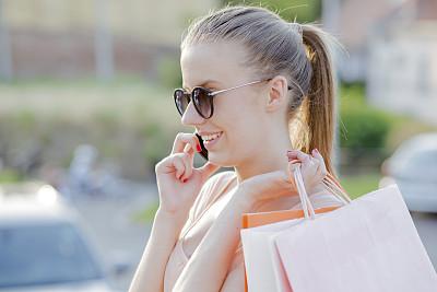 女人,拿着,购物袋,快乐,有钱人,留白,智慧,顾客,计算机软件,仅成年人