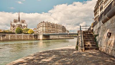 塞纳河,全景,马赛圣母院,巴黎圣母院,天空,灵性,水平画幅,无人,古老的