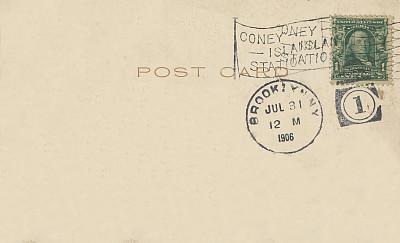 1906,科尼岛,明信片,古董,邮戳,布鲁克林,纽约,背面视角,留白,水平画幅