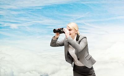 双筒望远镜,女商人,天空,未来,半身像,套装,仅成年人,青年人,公司企业,商务