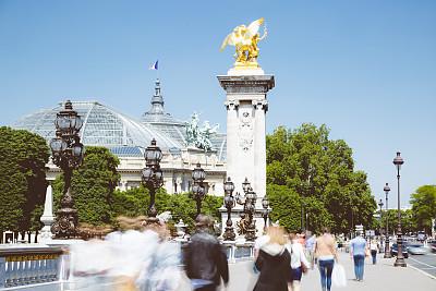 亚历山大三世桥,行人,交通,水平画幅,人,群众,旅行者,夏天,户外,长时间曝光