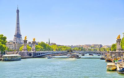 塞纳河,埃菲尔铁塔,桥,在上面,亚历山大三世桥,巴黎,船库,旅游目的地,水平画幅,无人