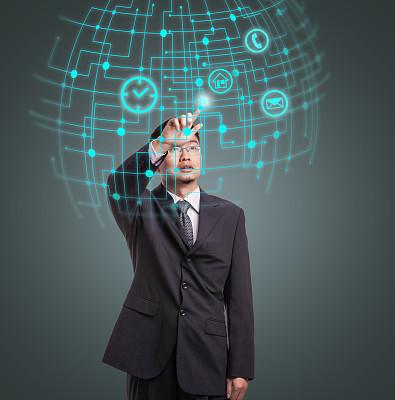 男商人,网络空间,home键,数字时钟,增强现实,液晶显示,男服,举起手,大数据,垂直画幅