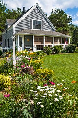 柯德角,家庭花园,鹿舌草,金鸡菊,门廊,萱草,门前露台,垂直画幅,台阶,水平画幅