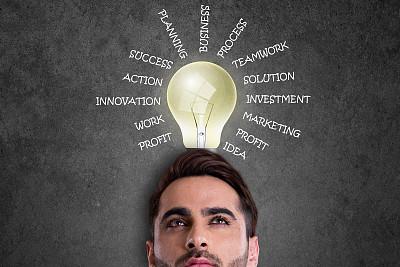 男商人,商务,电灯泡,看,单词,好主意,节能灯泡,太阳能电池板,太阳能设备,太阳能