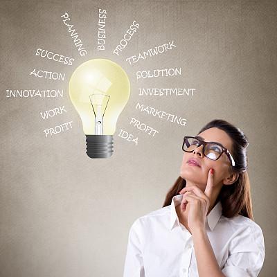 商务,电灯泡,女商人,单词,看,好主意,节能灯泡,太阳能电池板,太阳能设备,太阳能