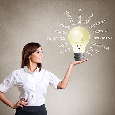 商务,电灯泡,女商人,拿着,单词,好主意,节能灯泡,太阳能电池板,太阳能设备,太阳能
