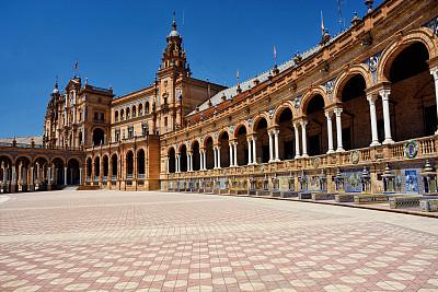 西班牙广场,塞维尔,安达卢西亚,纪念碑,天空,公园,水平画幅,建筑,无人,欧洲