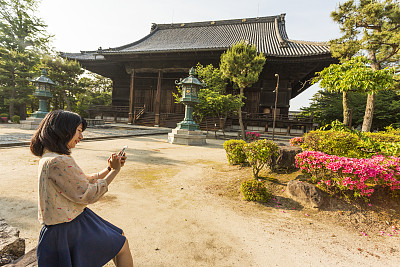 日本人,女人,寺庙,手机,星和园,神殿,京都市,京都府,美