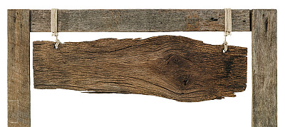 风化的,木制,古老的,悬挂的,布告,平衡折角灯,建筑结构,留白,褐色,水平画幅