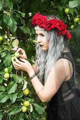 女王,苹果,机遇,婴儿,白雪公主,无袖上装,白发,演出服,苹果树,芭蕾舞者