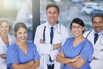 幸福,健康保健,病房,混合年龄,健康,制服,男性,仅成年人,镜头眩光