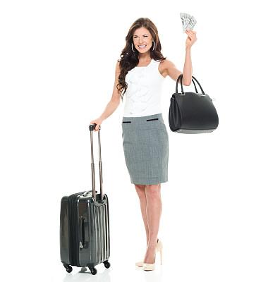 女商人,快乐,拿着,垂直画幅,正面视角,美,美人,套装,行李,白人