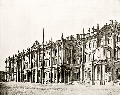 欧洲冬宫,俄罗斯,圣彼得堡,1880,水平画幅,无人,宫殿,黑白图片,摄影