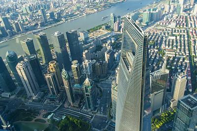 上海,新的,东方明珠塔,黄浦江,外滩,水,天空,水平画幅,夜晚,无人