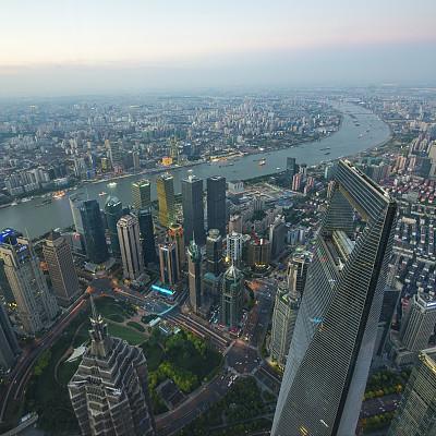 上海,新的,城市天际线,上海环球金融中心,东方明珠塔,黄浦江,外滩,水,天空,夜晚