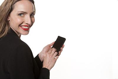 女人,幸福,智能手机,销售主管,美,留白,水平画幅,注视镜头,消息,美人