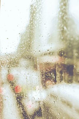 秋天,闷闷不乐,垂直画幅,窗户,留白,寒冷,橙色,无人,散焦,雨滴