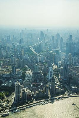 上海,新的,黄浦江,外滩,垂直画幅,水,天空,夜晚,无人,交通