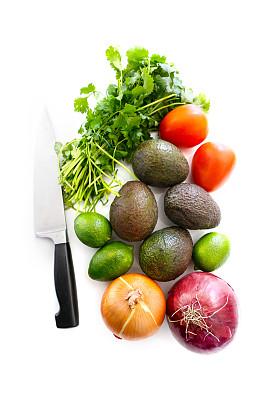绿酱,成分,清新,白色,分离着色,西班牙大葱,芫荽叶,垂直画幅,素食,水果